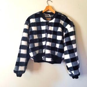Vintage Marmie West Drop Shoulder Zip up Plaid Jacket
